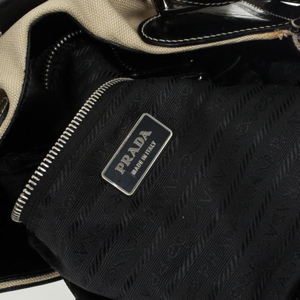 Prada Black Leather and Canvas Moon Hobo Bag