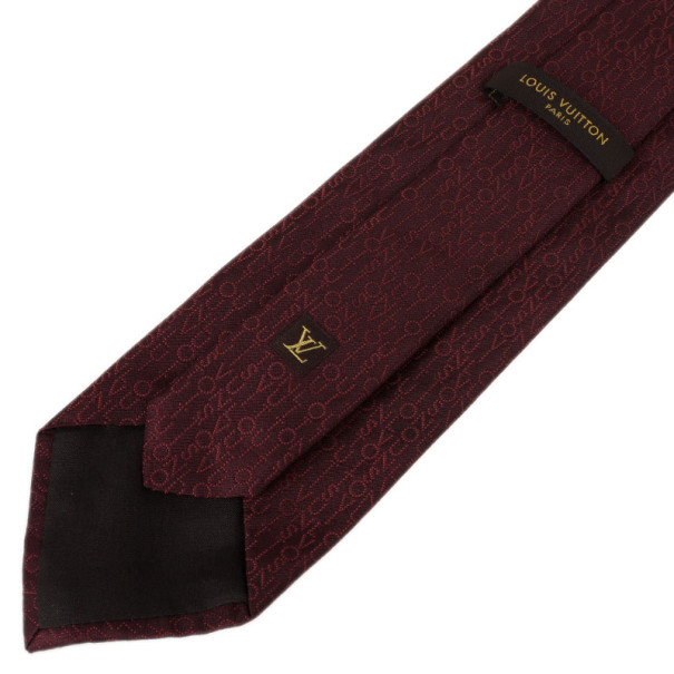 Louis Vuitton Maroon Silk Tie