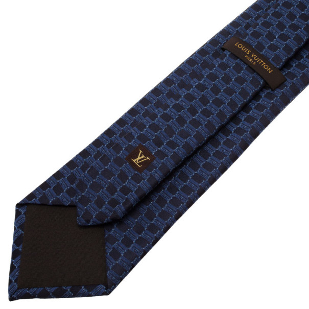 Louis Vuitton Blue Patterned Silk Tie