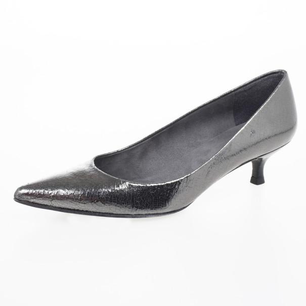 Stuart Weitzman Metallic Pointed Toe Low Heel Pumps Size 39