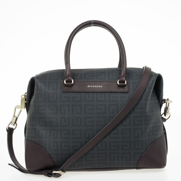 Givenchy Monogram Leather Trim Boston Bag