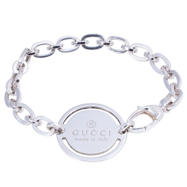 Gucci Silver Bracelet with Round Tag 18.5CM