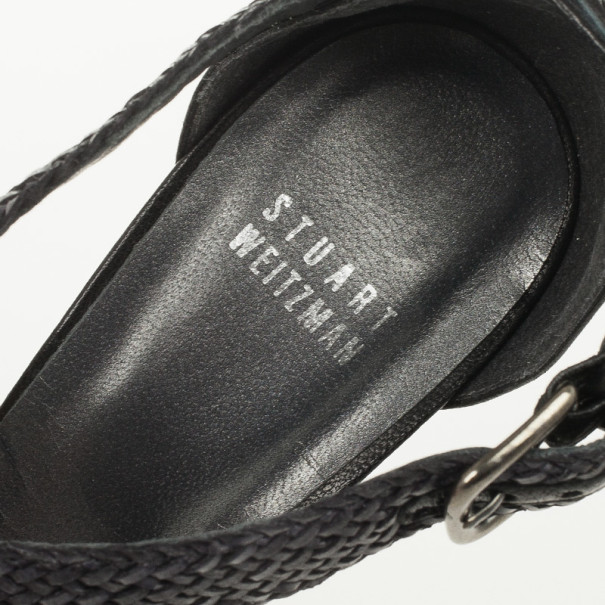 Stuart Weitzman Black Bradford Woven Braided Leather Platform Sandals Size 38.5