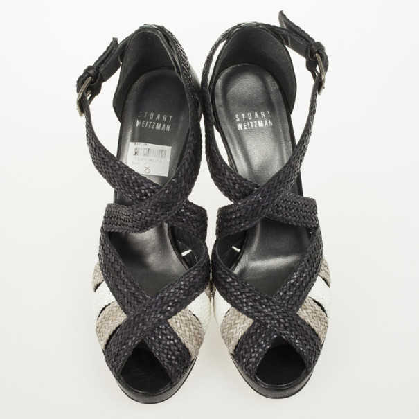 Stuart Weitzman Black Bradford Woven Braided Leather Platform Sandals Size 38.5