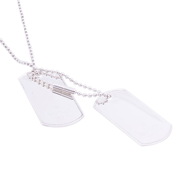 Gucci Silver Two Pendant Tag Necklace