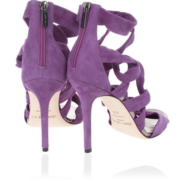 Jimmy Choo Purple 'Kemble' Knotted Suede Sandals Size 39.5