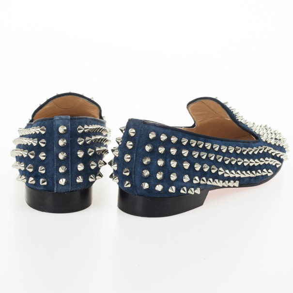 Christian Louboutin Blue Suede Rolling Spike Shoes Size 39