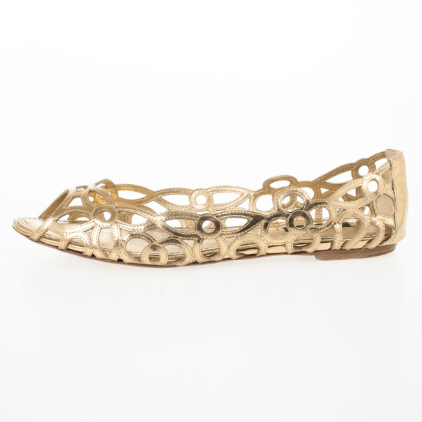 Louis Vuitton Gold Cutout Peep Toe Ballet Flats Size 38.5