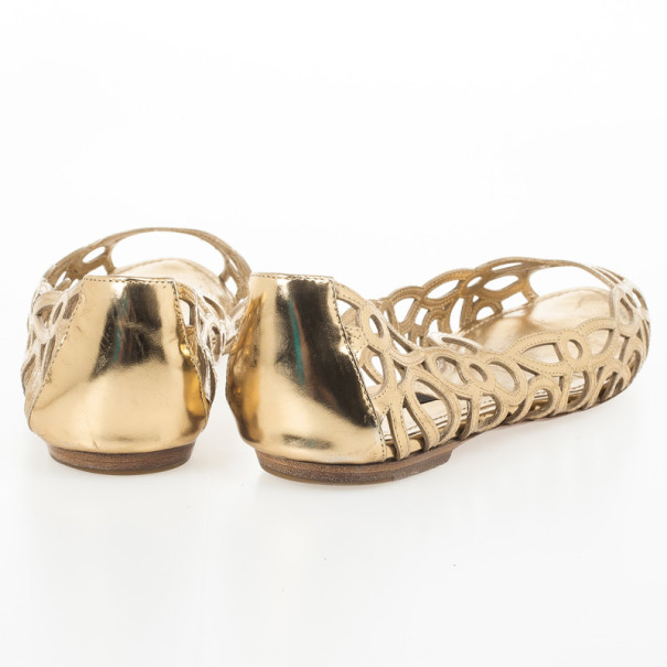 Louis Vuitton Gold Cutout Peep Toe Ballet Flats Size 38.5