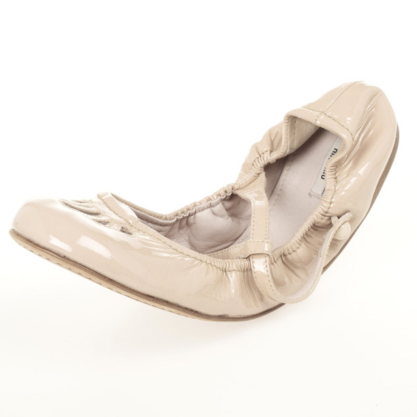Miu Miu T Strap Nude Patent Leather Ballet Flats Size 39
