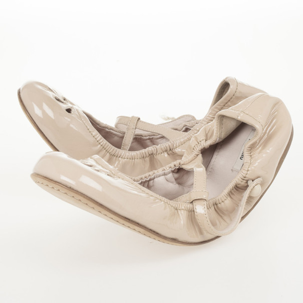 Miu Miu T Strap Nude Patent Leather Ballet Flats Size 39