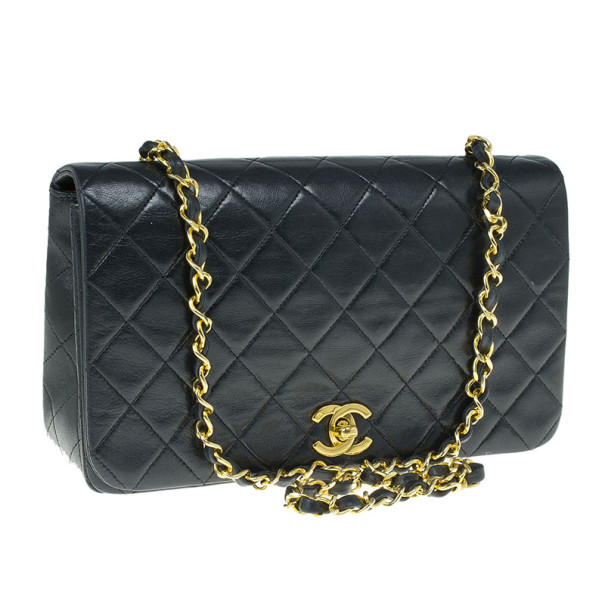 Chanel Black Lambskin Single Flap Shoulder Bag