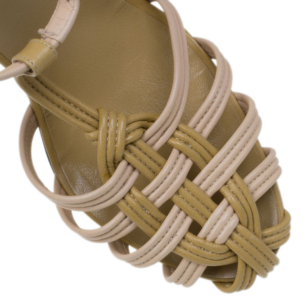 Chanel Beige Leather Strappy Sandals Size 39.5