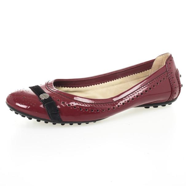 Tod's Maroon Patent Brogue Ballet Flats Size 38.5