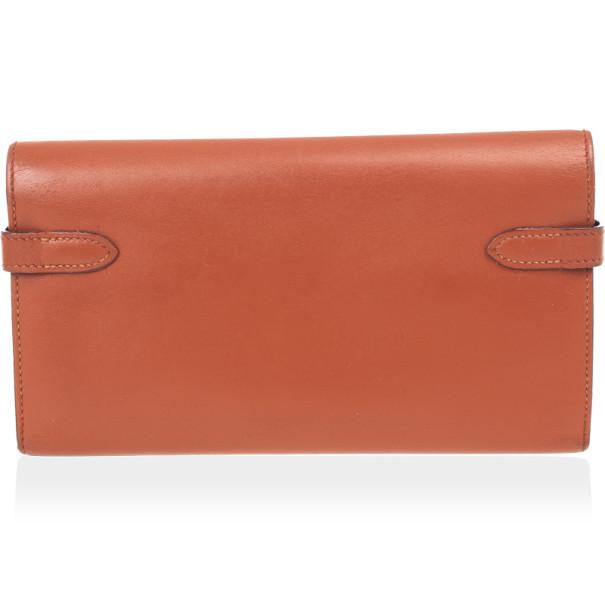 Hermes Brique Swift Leather Long Kelly Wallet