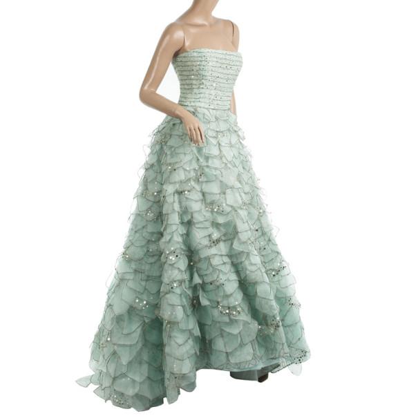 Oscar De La Renta Blue Sequined Silk Resort 2012 Evening Gown S