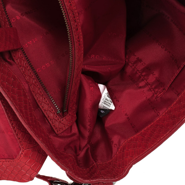 Marc by Marc Red Werdie Snake-Effect Leather Messenger Bag