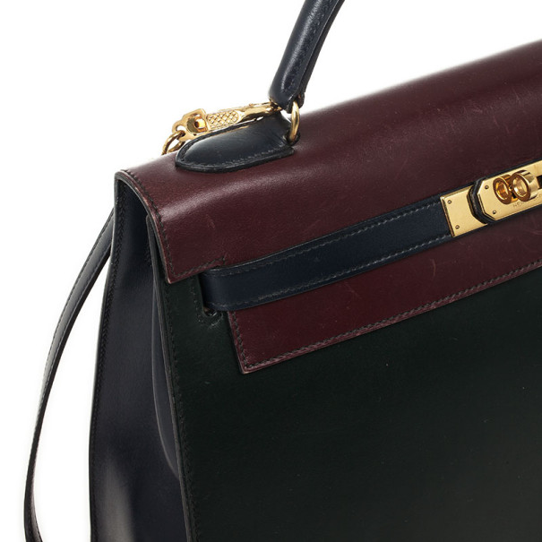 Hermes Vintage Tricolor Box Calf Kelly 32