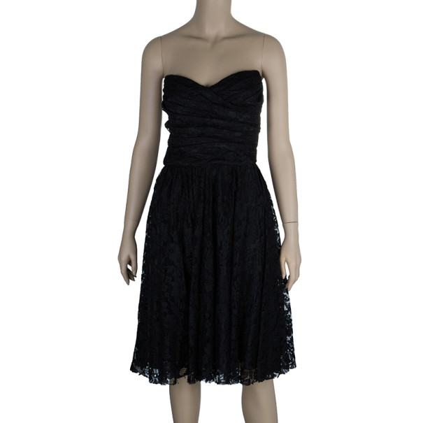 Dolce and Gabbana Black Strapless Lace Dress M