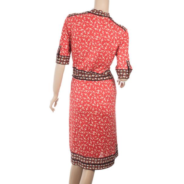 """Diane von Furstenberg """"Lucinda"""" Red Airplane Print Silk Wrap Dress L"""