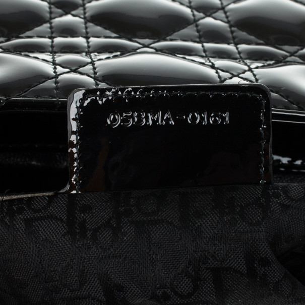 Christian Dior Black Patent Leather Lady Dior Large Bag