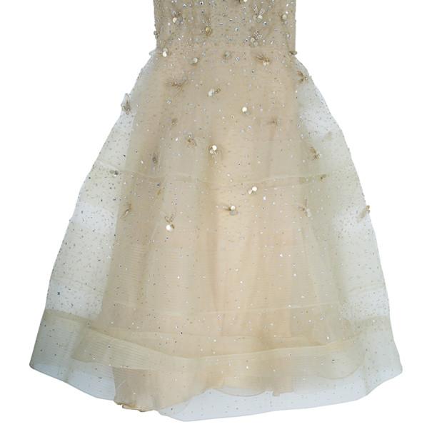 Oscar de la Renta Gold Tulle Embroidered Dress L