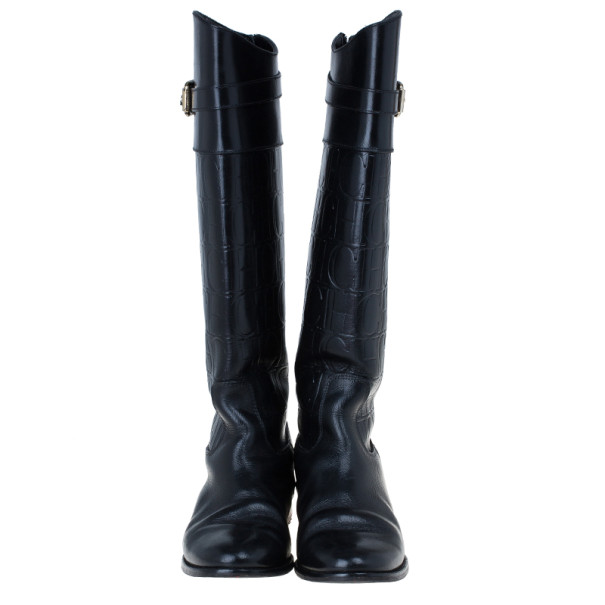 Carolina Herrera Black Patent Leather Monogram Knee Boots Size 39