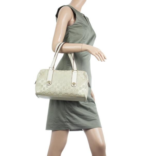 Gucci Beige and Metallic Monogram Charmy Boston Bag