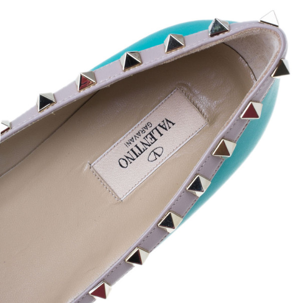 Valentino Turquoise Leather Rockstud Ballet Flats Size 40