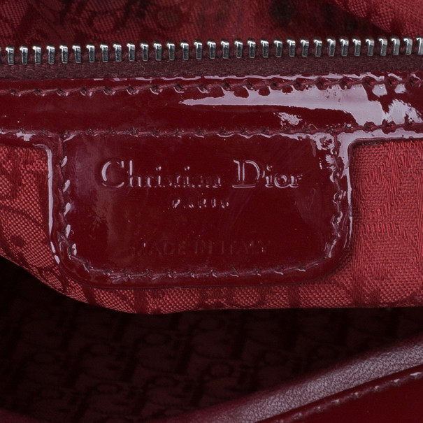 Dior Red Patent Leather Large Lady Dior