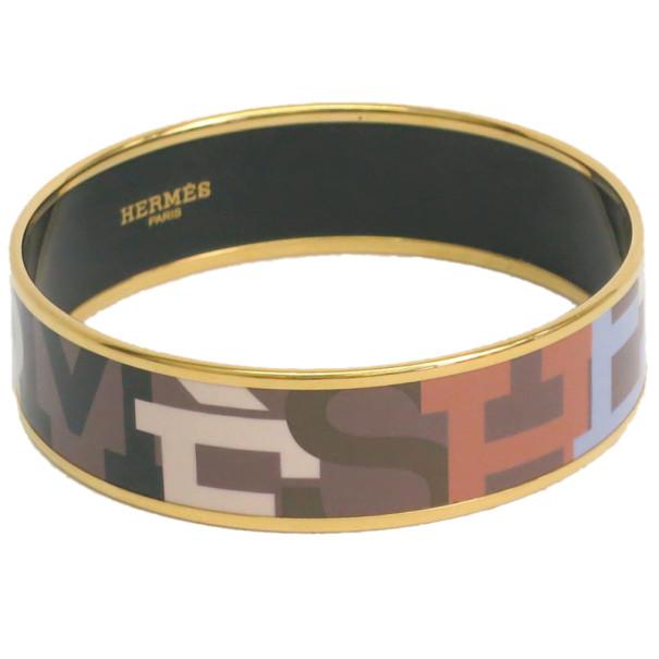 Hermes Wide Printed Enamel Gold-Plated Bracelet 22CM