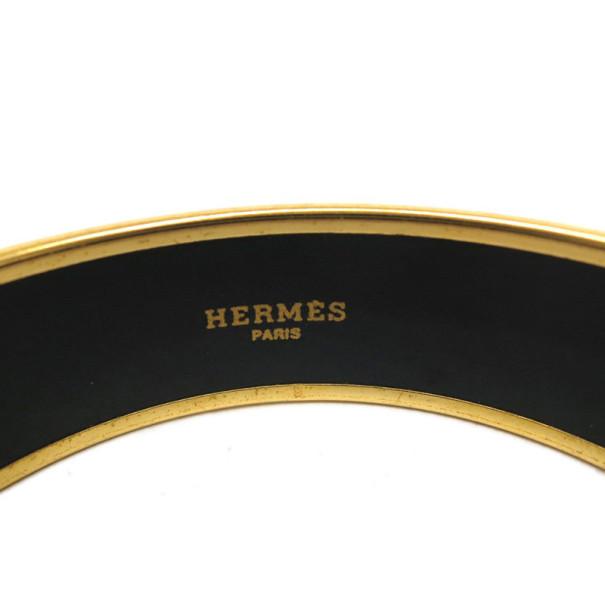 Hermes Wide Printed Enamel Gold-Plated Red Bracelet 21CM