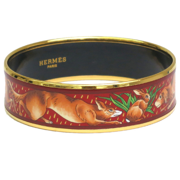 Hermes Wide Printed Enamel Gold-Plated Fox Design Bracelet 19CM