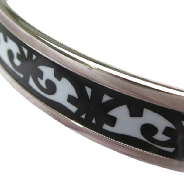 Hermes Balcons du Guadalquivir Cloisonne Black and White Enamel Narrow Bangle 22CM