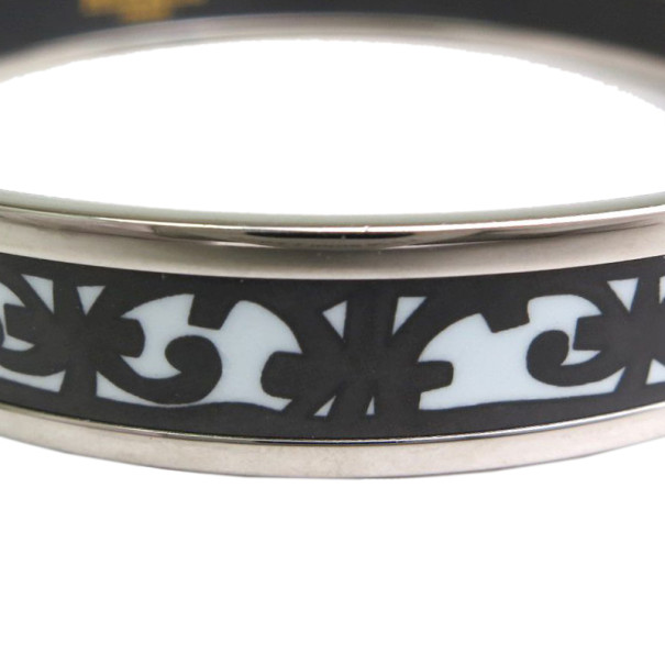Hermes Balcons du Guadalquivir Cloisonne Black and White Enamel Narrow Bangle 22CM