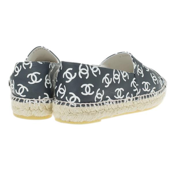 Chanel Black CC Leather Espadrilles Size 38