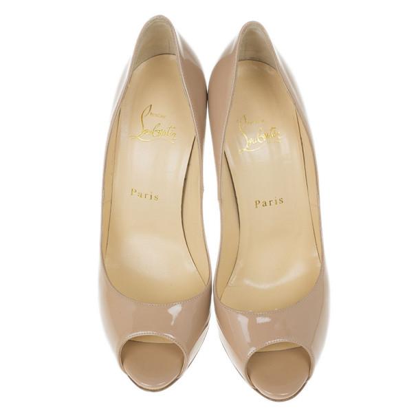 Christian Louboutin Nude Patent Maryl Peep Toe Pumps Size 39