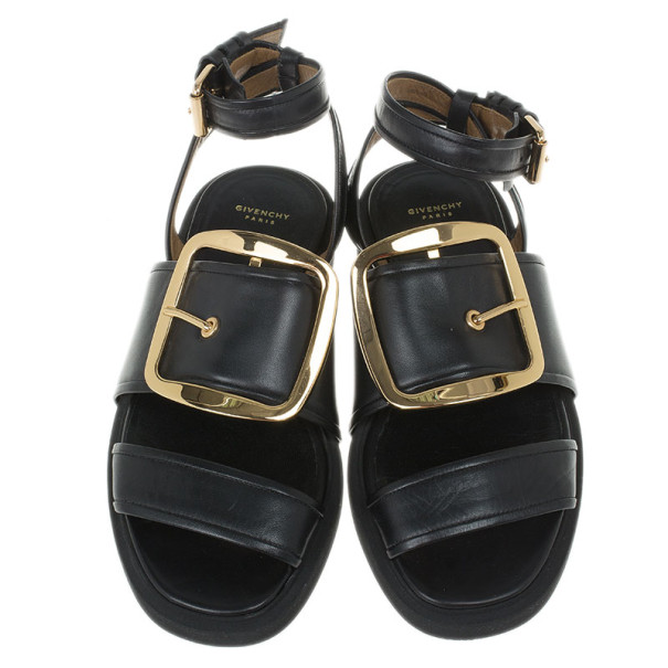 Givenchy Black Leather Victor Buckle Flat Sandals Size 37