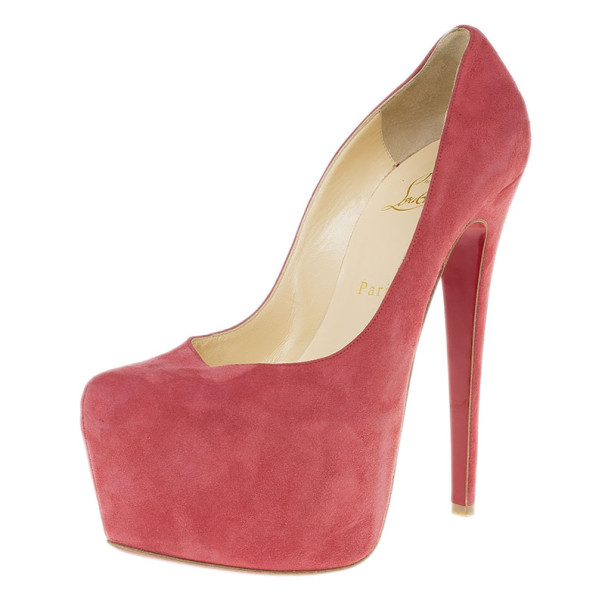 Christian Louboutin Pink Suede Daffodile Platform Pumps Size 38