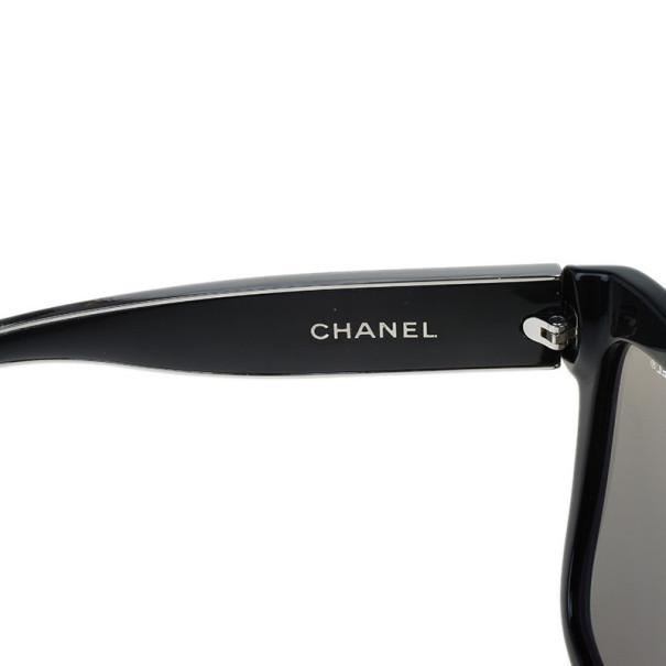 Chanel Black Prestiges Cat Eye 18K White Gold Sunglasses