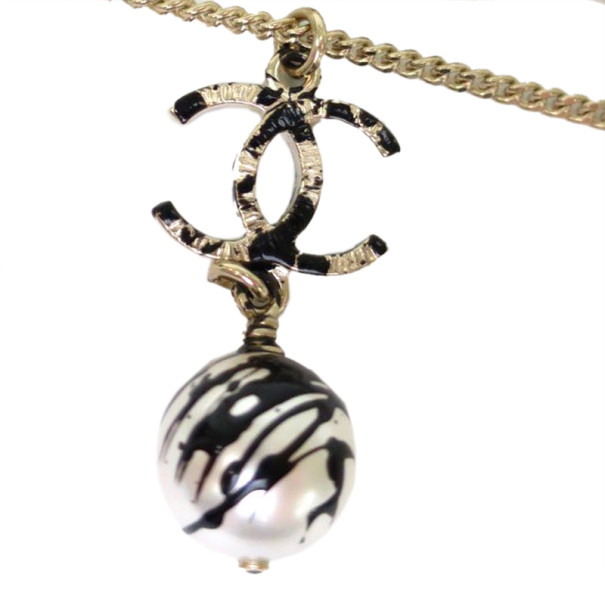 Chanel CC Pearl Graffiti Black and White Pendant Necklace