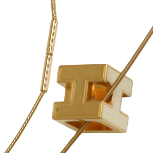 Hermes Cage d'H Ivory Laquered Pendant Necklace