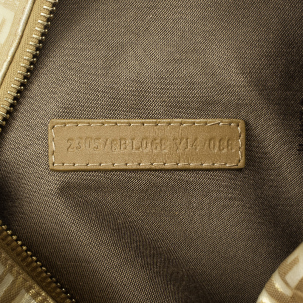 Fendi 'Forever' Gold Zucca Boston Bag