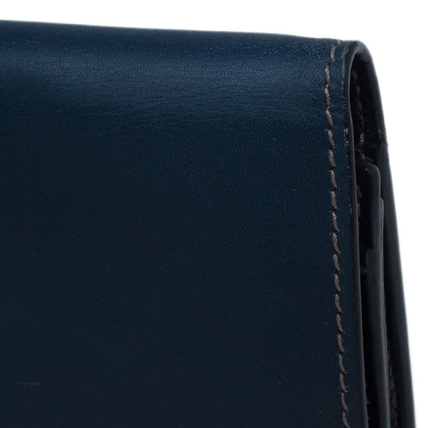 Gucci Blue Leather and GG Canvas Wallet