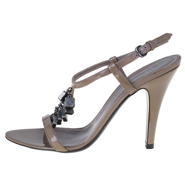 Burberry Brown Patent Leather Charm T Strap Sandals Size 38