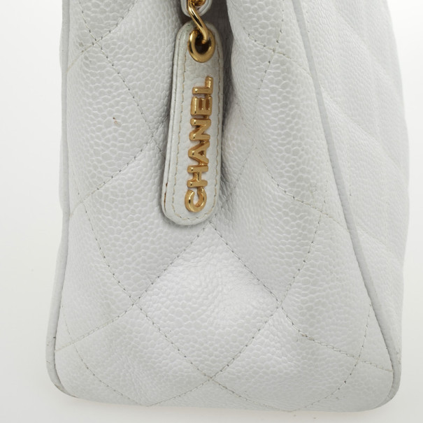 Chanel White Caviar Diamond Stitch Tote