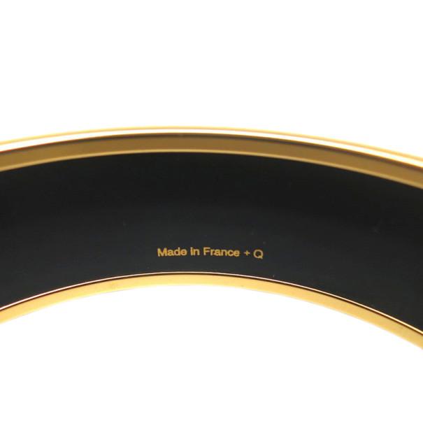 Hermes Wide Printed Enamel Gold-Plated Orange Bracelet 19CM