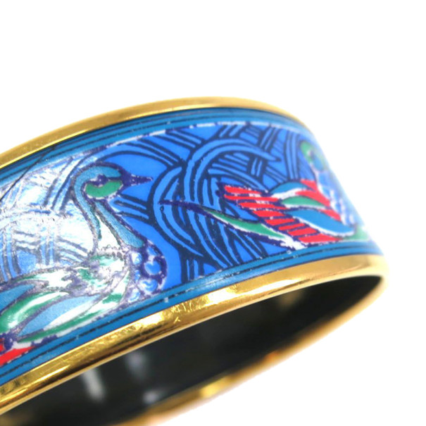 Hermes Wide Printed Enamel Gold-Plated Duck Design Bracelet 20CM