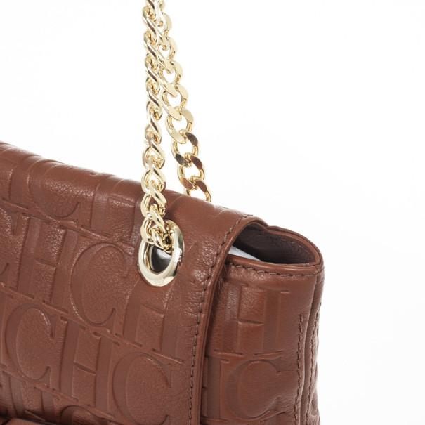Carolina Herrera 'Holly' Brown Monogram Embossed Bag