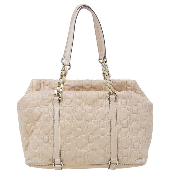 Carolina Herrera Beige Monogram Embossed Tote
